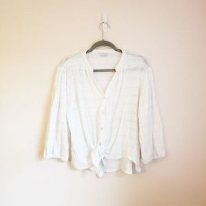 Lucky Brand White Tie Up Sweater Top SIze  S